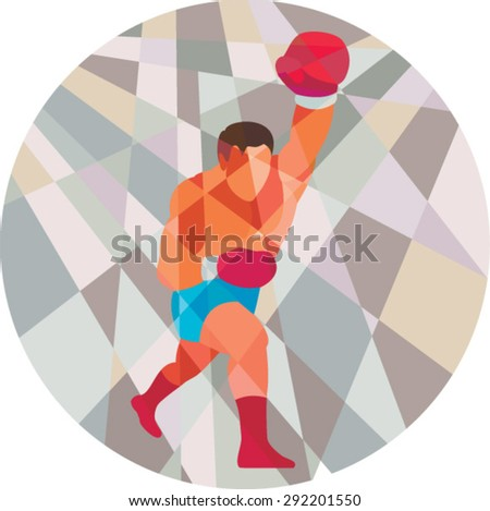 Low polygon style illustration of a boxer boxing jabbing punching viewed from front set inside circle .  - stock vector