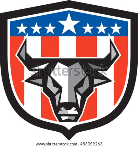 Low polygon style illustration of a bull cow head facing front set inside shield crest with usa american stars and stripes flag in the background.