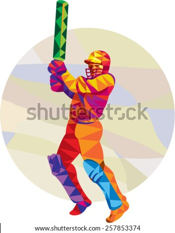 Low polygon style illustration of a cricket player batsman with bat batting set inside circle. - stock vector