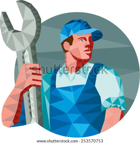Low Polygon style illustration of a mechanic wearing hat holding spanner wrench looking to the side set on isolated background.