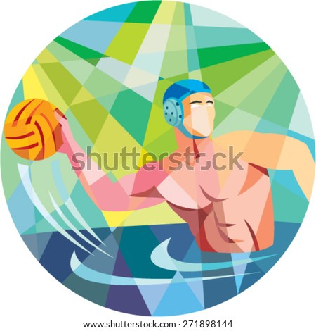Low polygon style illustration of a water polo player throwing ball viewed from the side set inside circle. - stock vector