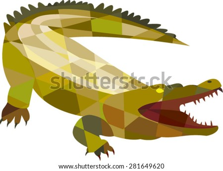Low polygon style illustration of an angry alligator crocodile gaping mouth set on isolated white background. - stock vector