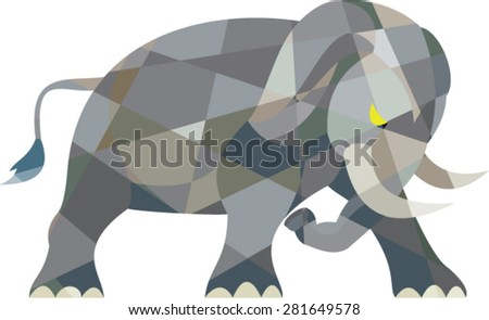 Low polygon style illustration of an elephant attacking viewed from the side set on isolated white background.  - stock vector