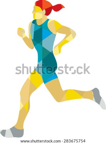 Low polygon style illustration of female marathon triathlete runner running viewed from the side set on isolated white background. - stock vector