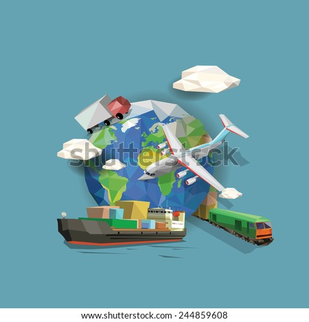 Low polygon transportation icons and planet earth. Vector illustration. - stock vector