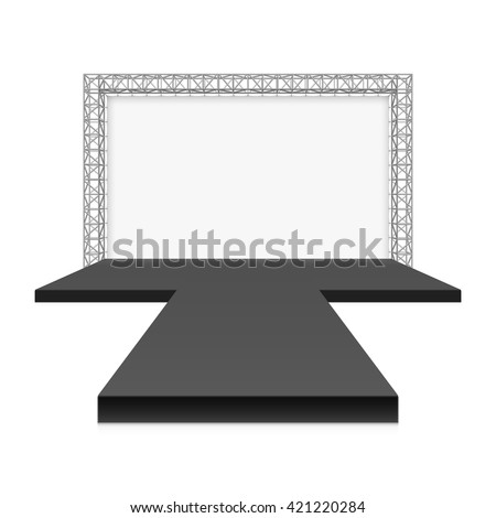 Low Stage with banner, metal truss system vector illustration - stock vector