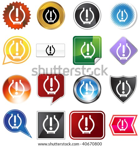Low Tire Pressure Icon Set Isolated Stock Vector 40670800 Shutterstock