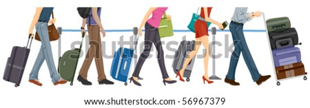 Lower Body of People at the Airport - Vector - stock vector