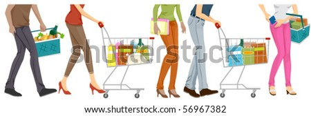 Lower Body of People Grocery Shopping - Vector