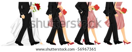 Lower Body of Wedding Procession - Vector
