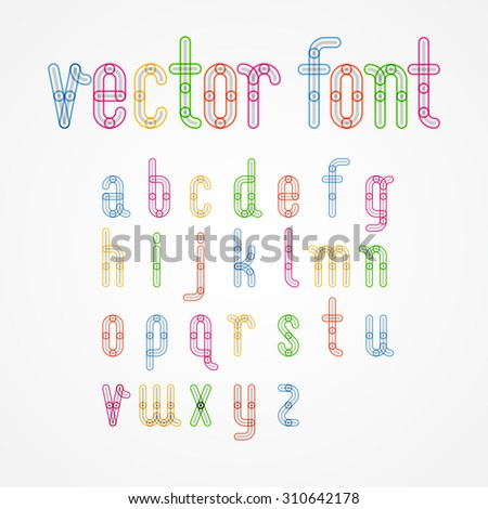 Lower Case colorful alphabet capital letters.a,b,c,d,e,f,g,h,i,j,k,l,m,n,o,p,q,r,s,t,u,v,w,x,y,z. Vector illustration. - stock vector