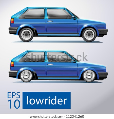 lowrider car - stock vector