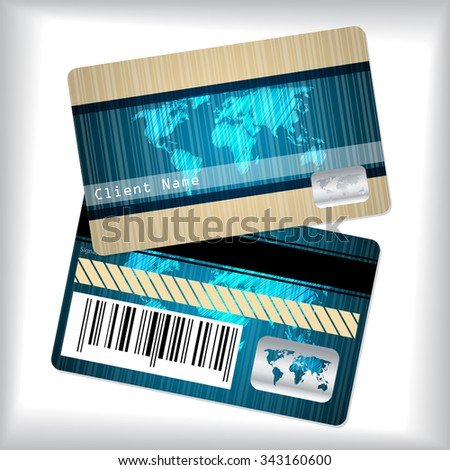 Loyalty card design with striped and scribbled world map - stock vector