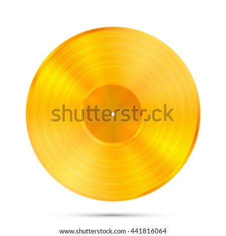 LP Gold Record icon, Gramophone music object, Vinyl disk record, Vector illustration - stock vector