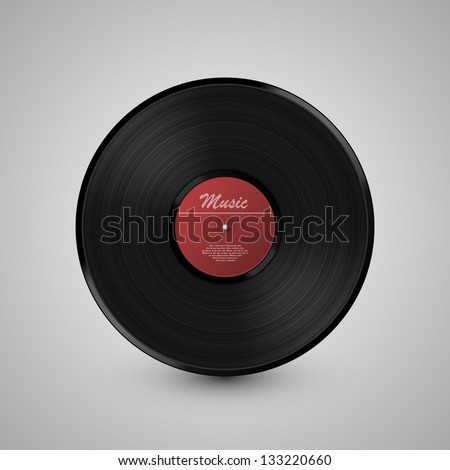 LP Record icon, Gramophone music object, Vinyl disk record, Vector illustration