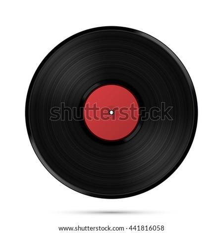 LP Record icon, Gramophone music object, Vinyl disk record, Vector illustration - stock vector
