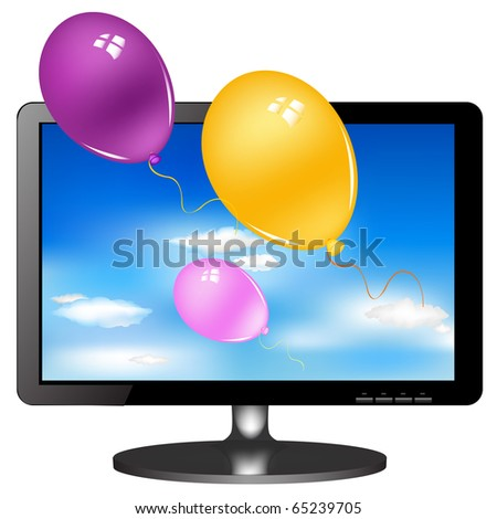 Lsd Tv Monitor With Balloons, Isolated On White Background, Vector Illustration - stock vector