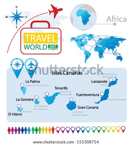 lslas Canarias. World Map. Travel vector Illustration. - stock vector