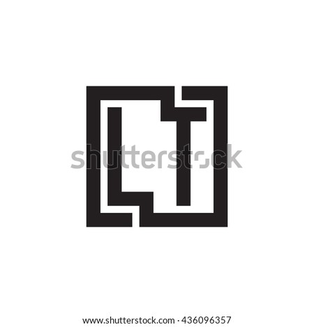 LT initial letters looping linked square monogram logo