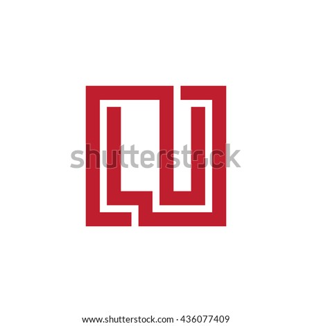 Lu Initial Letters Looping Linked Square Stock Vector 436077409