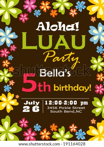 Luau Party Invitation - stock vector