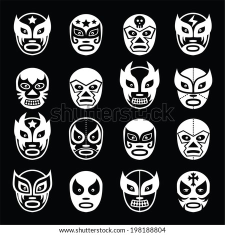 Lucha libre, luchador Mexican wrestling white masks icons on black  - stock vector