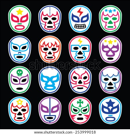 Lucha Libre Mexican wrestling masks icons on black - stock vector