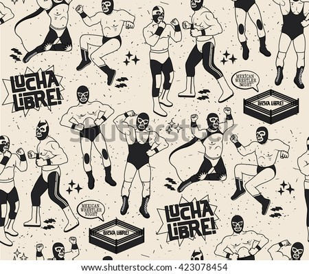 Lucha Libre Seamless Pattern.Luchadores Heroes. Mexican Wrestler Night.