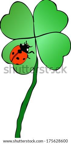 Luck on luck - Graphical representation of a lucky charm on top of another charm lucky  - stock vector