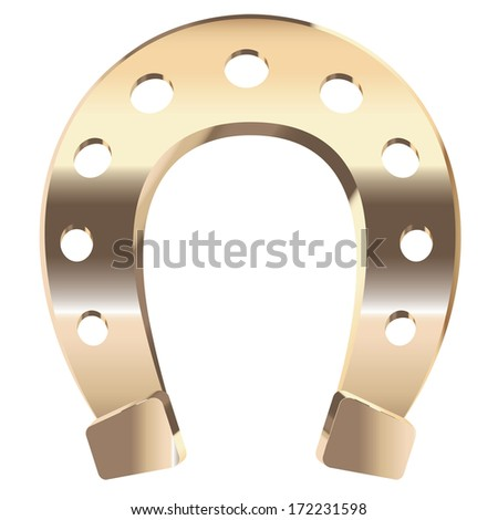 Luck symbol, gold horseshoe on white background. - stock vector