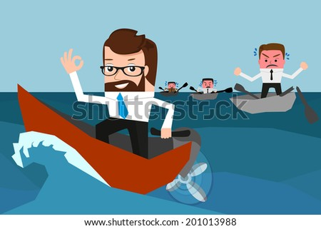 Lucky businessman has won a competition. Conceptual illustration.  - stock vector