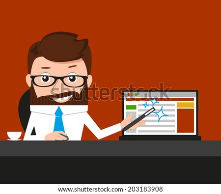 Lucky businessman is presenting a web site - stock vector
