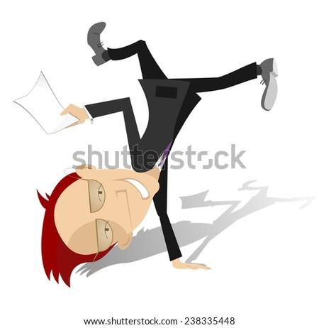 Lucky businessman stays head over heels with a document in his hand - stock vector