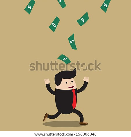 Lucky businessman with dollars falling from sky, VECTOR, EPS10