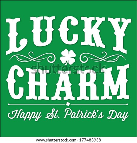 Lucky Charm St. Patrick's Day Vector Illustration | Happy Saint Patrick's Day With Clover and Curl Elements - stock vector