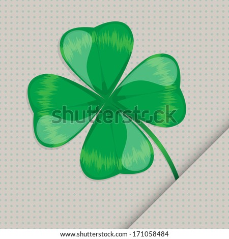 lucky clover leaf on the seamless dotted paper background