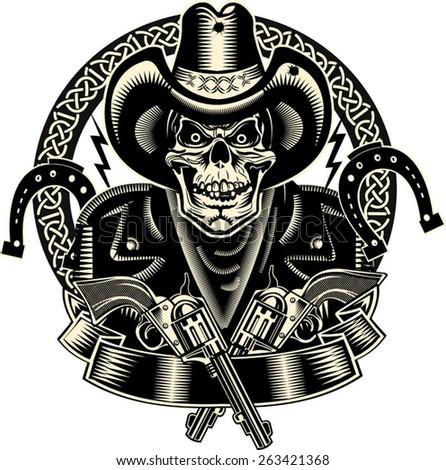 Lucky Cowboy Skull and Revolver - stock vector