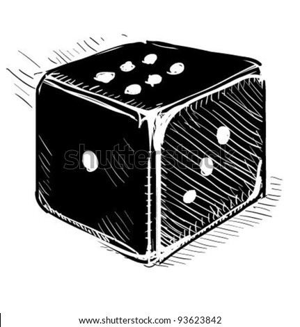 Lucky dice cartoon icon in black color. Sketch fast pencil hand drawing illustration in funny doodle style. - stock vector