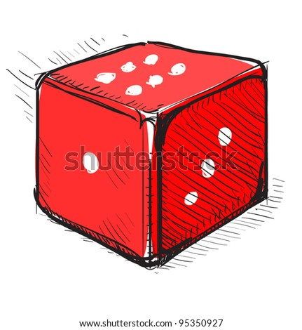 Lucky dice cartoon icon in red color. Sketch fast pencil hand drawing illustration in funny doodle style. - stock vector