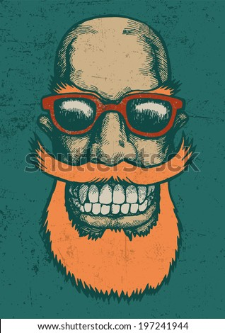 Lucky dude with mustaches, beard and sun glasses. engraving style. vector illustration  - stock vector