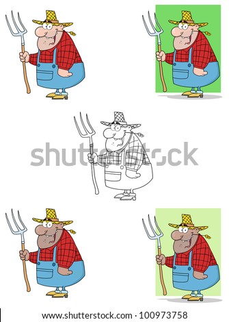 Lucky Farmer Man Carrying A Rake. Vector Collection - stock vector