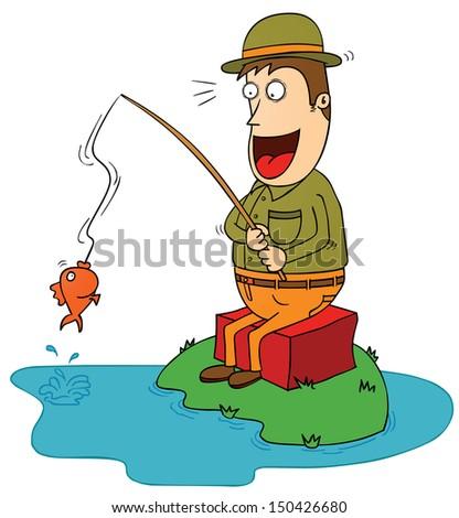 lucky fisherman - stock vector