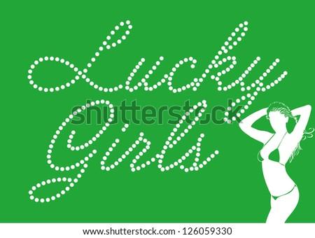 lucky girls vector art - stock vector