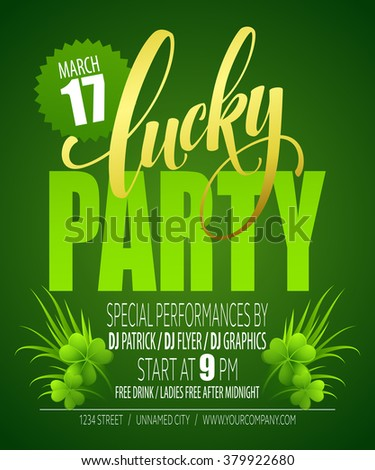 Lucky Party Poster. St. Patricks Day. Vector illustration EPS10 - stock vector