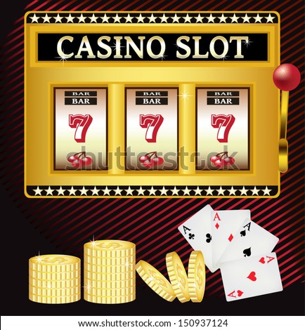 Lucky Seven Casino Slot Machine - stock vector