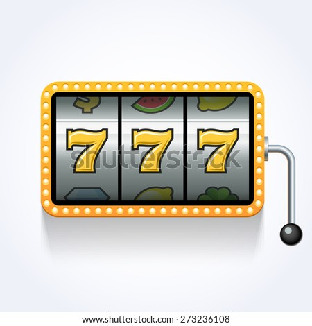 Lucky seven on slot machine - stock vector