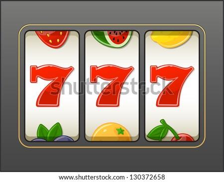 Lucky 7 Slot Machine - stock vector