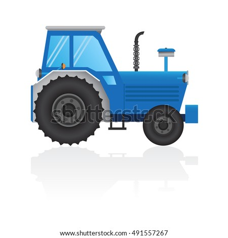 lue tractor a side view on white background