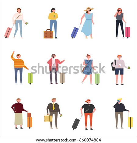 luggage and tourist vector illustration flat design
