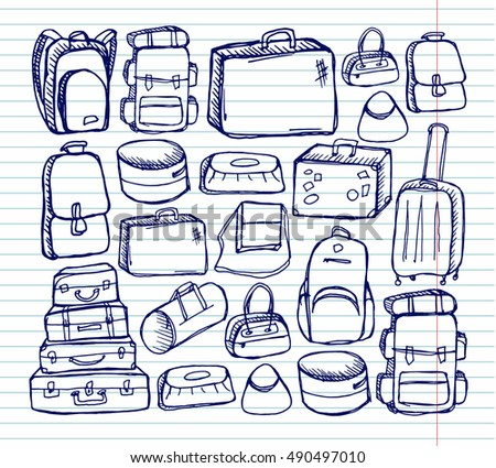 Luggage bags set on copybook background. Free hand drawn. Vector illustration.